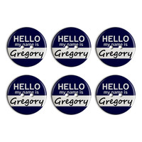 Gregory Hello My Name Is Plastic Resin Button Set of 6