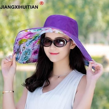 jiangxihuitian Brands 2018 summer new Packable Extra Large Brim Floppy Sun Hat Reversible UPF 50+ Beach Sun Bucket Hat