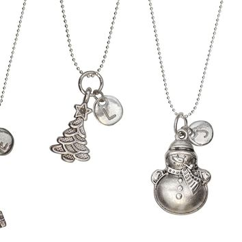 Christmas Holiday Custom Initial Charm Necklaces-PERFECT HOLIDAY GIFTS
