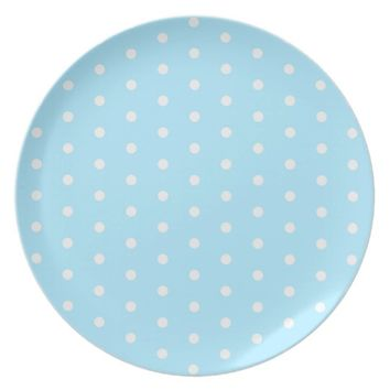 Polka dot pattern blue fabric circles dots ovals dinner plate