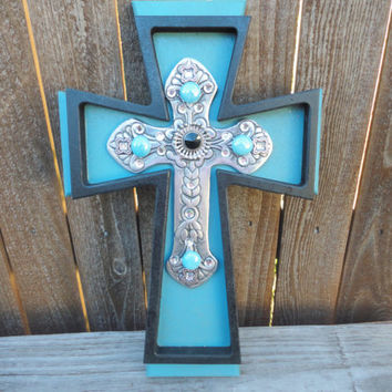 Decorative Crosses,Stacked Crosses,Wooden Cross,Rustic Cross,Wooden Cross Decor,Wall Cross,Decorative Cross,Cross Wall Art,Blue,Black,Cross