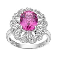 Lab-Created Pink Sapphire Sterling Silver Oval Ring