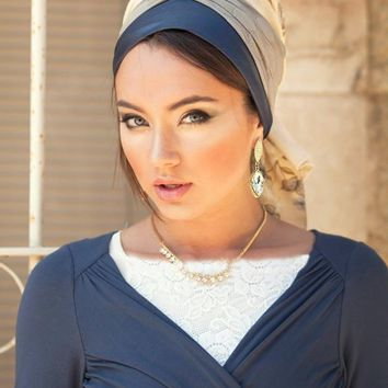 Butterfly Turban Scarf- Blue & Gray