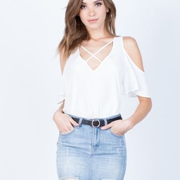 Flowy Cold Shoulder Blouse