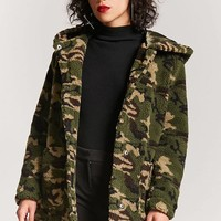 Faux Shearling Camo Jacket - Women - Outerwear - 2000223917 - Forever 21 Canada English