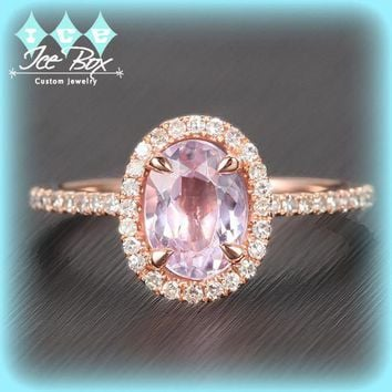 Kunzite Engagement Ring 1.15ct Oval Kunzite in a 14k Rose Gold Diamond Halo Setting