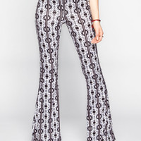 H.I.P. Ethnic Print Womens Bell Pants Black/Grey  In Sizes