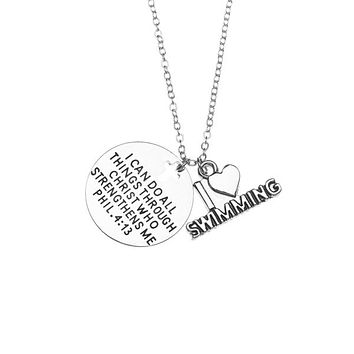 Swim Necklace - I Can Do All Things Through Christ Who Strengthens Me