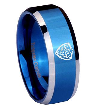 10mm Zelda Hylian Shield Beveled Blue 2 Tone Tungsten Wedding Engraving Ring