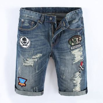 Men`s Jean Knee Length 💀 Skull Print Shorts