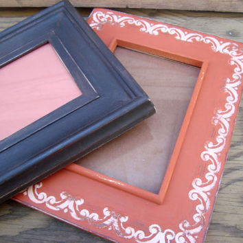 Orange Spice and Expresso Brown Set of 2 Painted Frames, Autumn Harvest, Fall Decor, Pumpkin Spice Collection, Shabby Chic Decor, Wall Decor