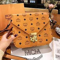 MCM New Fashion High Quality Letter Print Women Crossbody Shoulder Bag Brown