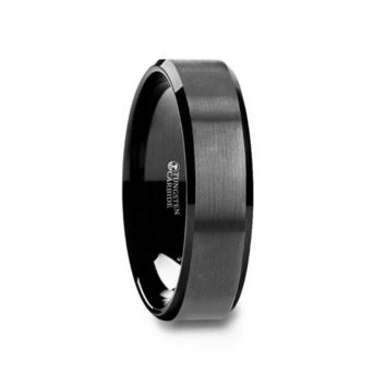 Black Tungsten Ring with Polished Beveled Edges and Brush Finished Center 6mm