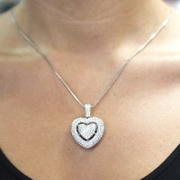 Rhinestone Cut Out Heart Necklace