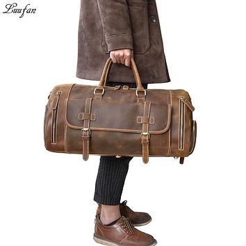 Men Travel Bag Crazy Horse Genuine Leather Travel Duffel Large Capacity Cowhide Carry On Luggage Bags Overnight Man Shoulder Bag