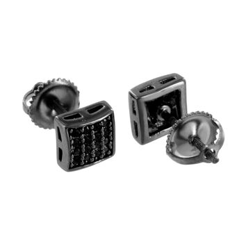 Mens Black Finish Earrings Black Simulated Diamonds Custom Screw Back
