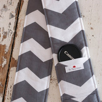 DSLR Camera Strap Cover- lens cap pocket and padding included- Grey and White Chevron