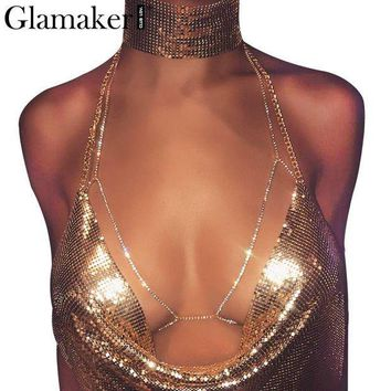 ac PEAPO2Q Glamaker Halter backless shiny club rhinestones body chain bra Sexy summer beach chic women bra accessories