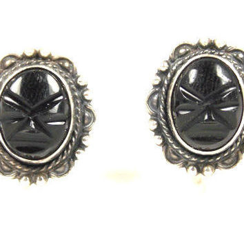 Mexican Silver Onyx Mask Face Earrings Tribal Jewelry Warroir Mask