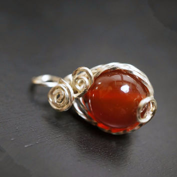Wire Wrapped Carnelian Pendant,  Root Chakra Healing, Yoga Pendant,  Pendant Only