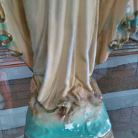 Large Antique Garden Religious Statuary, Weathered, French Madonna, Solid Plaster
