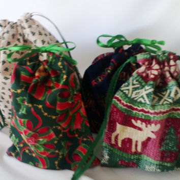 4 Assorted Christmas Gift Bags Using Upcycled Fabric, Reusable