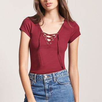Lace-Up Cap Sleeve Top