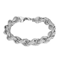 """Sterling Silver Rope Link Bracelet 11mm Chain 9"""" Bling Hip Hop Simulated Diamonds Silver Tone"""
