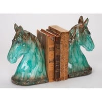 Ceramic Turquoise Horse Bookends