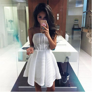 White Stripe Pattern Strapless Skater Dress