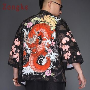 Zongke Dragon Kimono Jacket Men Japanese Streetwear Kimono Cardigan Jacket Men Black Windbreaker Men Jacket Coat 2018 Summer