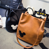 women famous brand 5 colors Mickey handbag PU Leather Organizer Small Cute Bucket Bag Messenger bags Women Feminina Bags Bolsos
