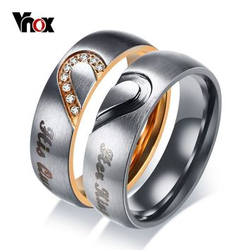 Cool Vnox Her King His Queen Couple Wedding Band Ring Stainless Steel CZ Stone Anniversary Engagement Promise Ring for Women MenAT_93_12