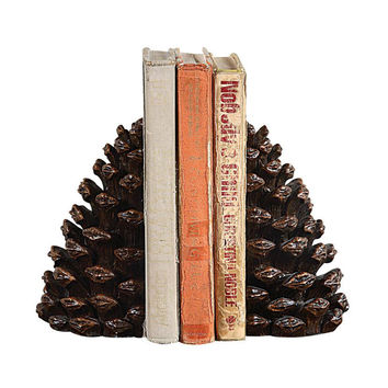Rustic Pinecone Bookends