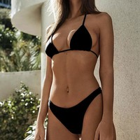 Sexy Bikini Halter Push Up Swimwear Women Swimsuit Solid Bikini Set Brazilian Bathing Suits