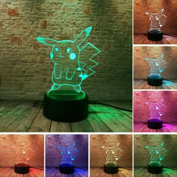 Hot  Go Action Figure 3D Atmosphere Illusion Night Light Pikachu Bedroom Kids Gift Creative 3D illusion Lamp  ShippngKawaii Pokemon go  AT_89_9