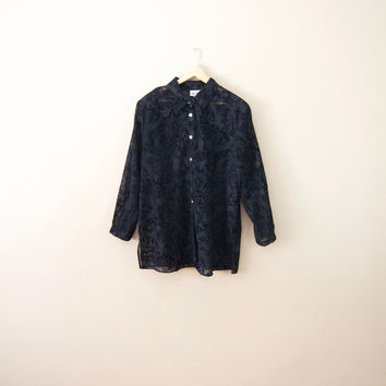 90s Black Sheer Button Up - Oversized Button Down Shirt Black Sheer Blouse Paisley Shirt Women Plus Size Blouse Black Button Up 90s