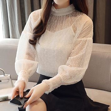 Women Simple Fashion Solid Color Frills Long Sleeve  Bodycon Perspective Knit Gauze T-shirt Tops