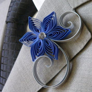 Royal Blue Wedding Boutonniere