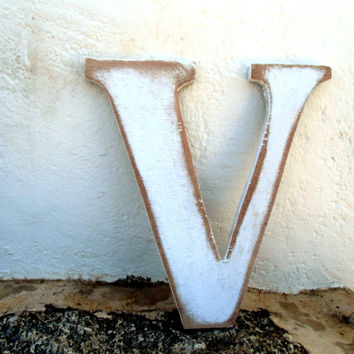 shabby chic wood letters V personalized rustic 8 inc Distressed wooden letter wall hanging nursery wood names
