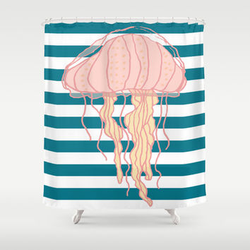 Jellyfish Bold Blue Stripes Shower Curtain by Doucette Designs