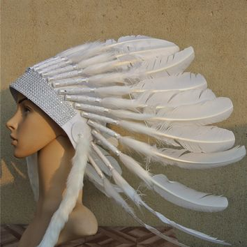 white Chief Indian feather Headdress Native American hand made War Bonnet indian headdress feather costume