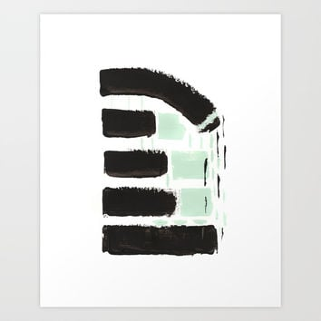 Minimal black & mint Art Print by vivigonzalezart