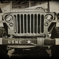 Vintage Military Jeep Fine Art Photography Marine Corps Jeep Army Jeep Photo Michigan Art Man Cave Wall Decor Black and White Print