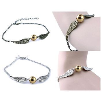 Harry Potter Snitch Bracelet Wings Golden Symbol Wrist Movie Inspired Jewelry