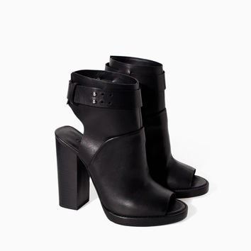 LEATHER HIGH HEEL PEEP TOE ANKLE BOOT