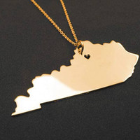 State Necklace Kentucky State Charm Necklace 18k Gold State Necklace With A Heart