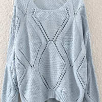 Blue Cut-outs Sweater