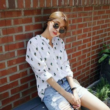 PEAPU3S 2017 New Summer Women Blouse Linen Long Sleeve Shirts Cactus Printed White Loose Blouse Leisure Tops Plus Size Hot Sale YC