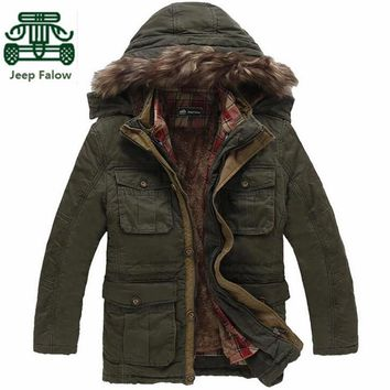 AFS JEEP Falow Detachable Cashmere Plaid Inner Winter Thick Brand Coat,Men's Cargo Motorcycle Long Coats,3xl/4xl/5xl Plus Size